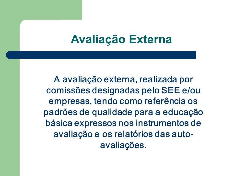 Avaliação Externa A avaliação externa, realizada por comissões designadas pelo SEE e/ou empresas, tendo como referência os padrões de qualidade para a