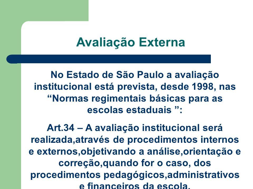 Avaliação Externa No Estado de São Paulo a avaliação institucional está prevista, desde 1998, nas Normas regimentais básicas para as escolas estaduais