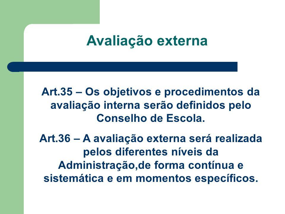 Avaliação externa Art.35 – Os objetivos e procedimentos da avaliação interna serão definidos pelo Conselho de Escola. Art.36 – A avaliação externa ser
