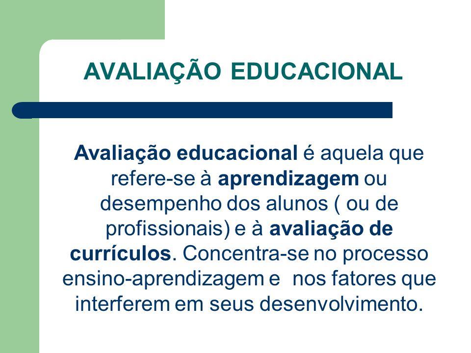 AVALIAÇÃO EDUCACIONAL Avaliação educacional é aquela que refere-se à aprendizagem ou desempenho dos alunos ( ou de profissionais) e à avaliação de cur
