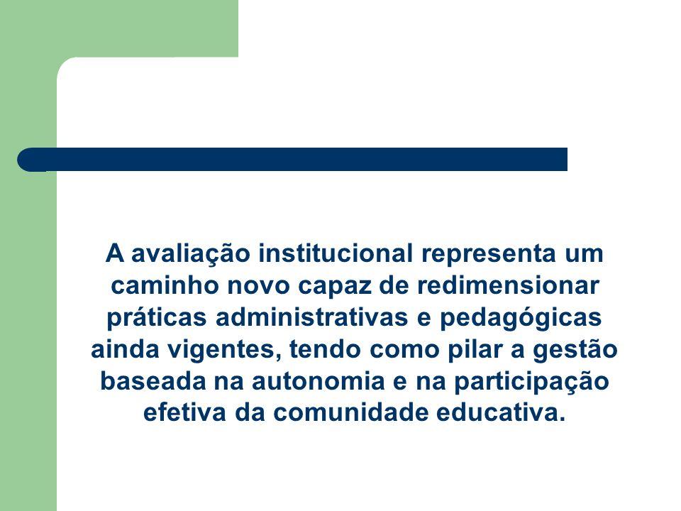 A avaliação institucional representa um caminho novo capaz de redimensionar práticas administrativas e pedagógicas ainda vigentes, tendo como pilar a