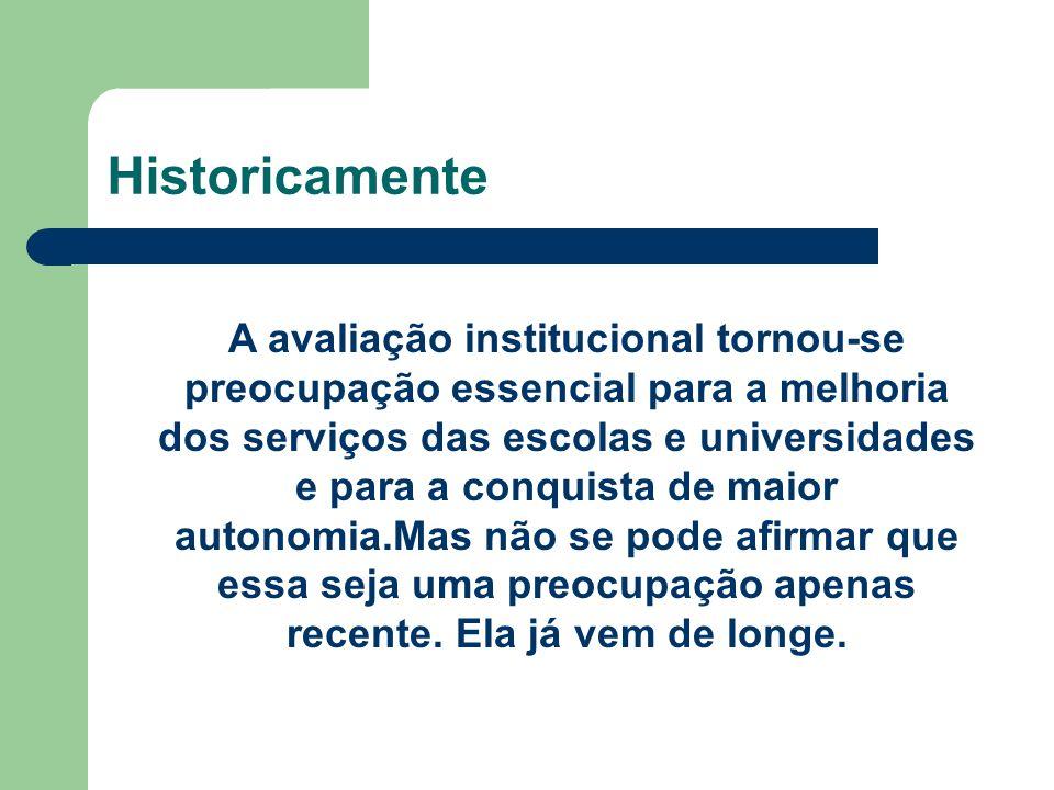 Historicamente A avaliação institucional tornou-se preocupação essencial para a melhoria dos serviços das escolas e universidades e para a conquista d