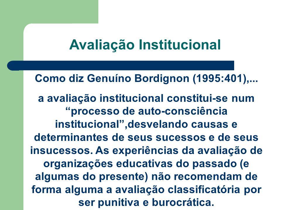 Avaliação Institucional Como diz Genuíno Bordignon (1995:401),... a avaliação institucional constitui-se num processo de auto-consciência instituciona
