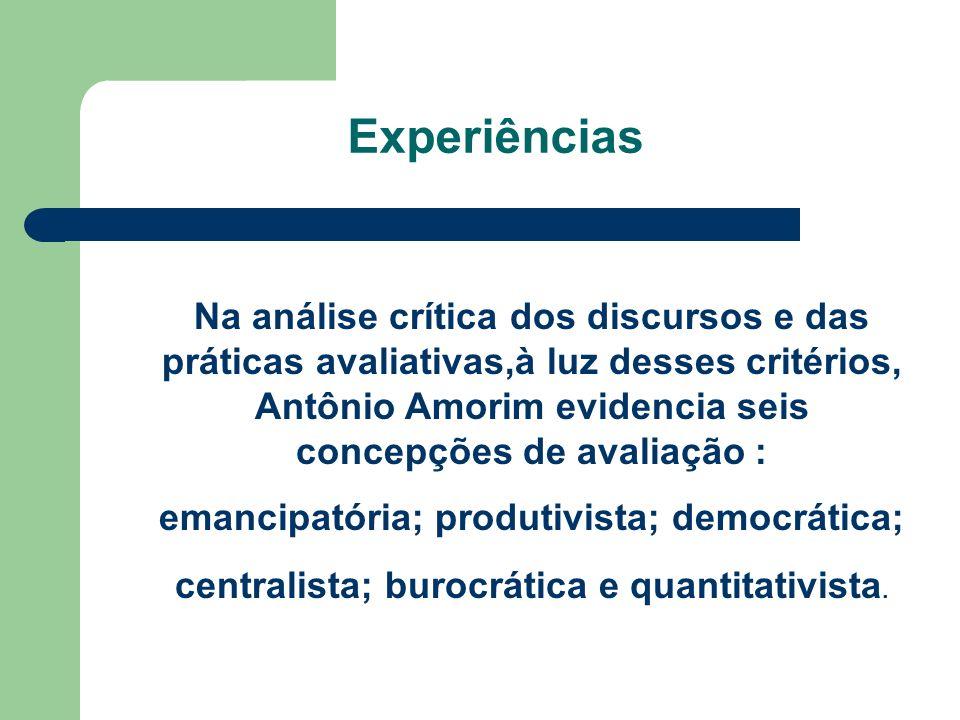 Experiências Na análise crítica dos discursos e das práticas avaliativas,à luz desses critérios, Antônio Amorim evidencia seis concepções de avaliação