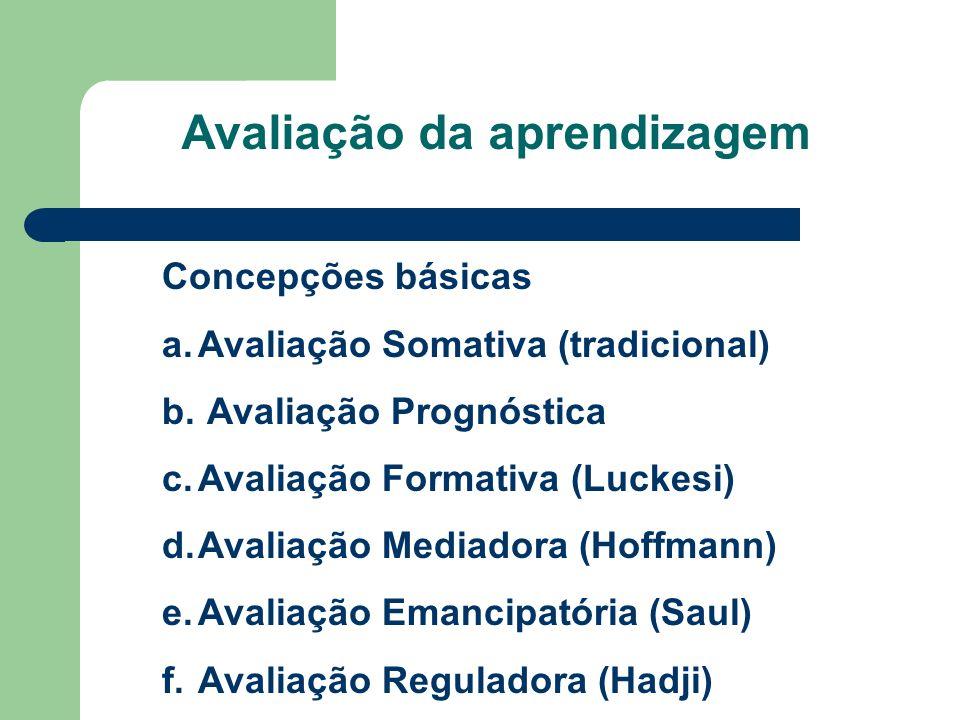 Avaliação da aprendizagem Concepções básicas a.Avaliação Somativa (tradicional) b. Avaliação Prognóstica c.Avaliação Formativa (Luckesi) d.Avaliação M