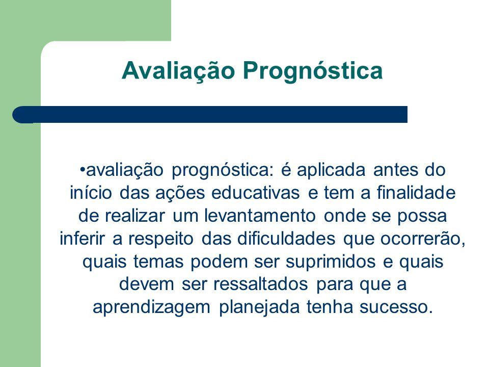 Avaliação Prognóstica avaliação prognóstica: é aplicada antes do início das ações educativas e tem a finalidade de realizar um levantamento onde se po