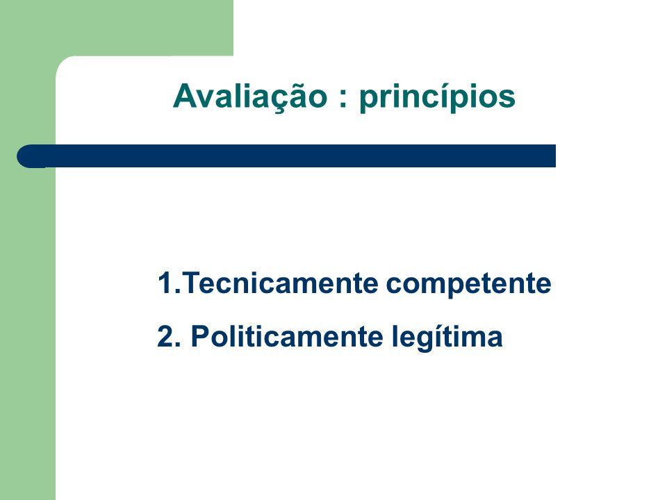 Avaliação : princípios 1.Tecnicamente competente 2. Politicamente legítima