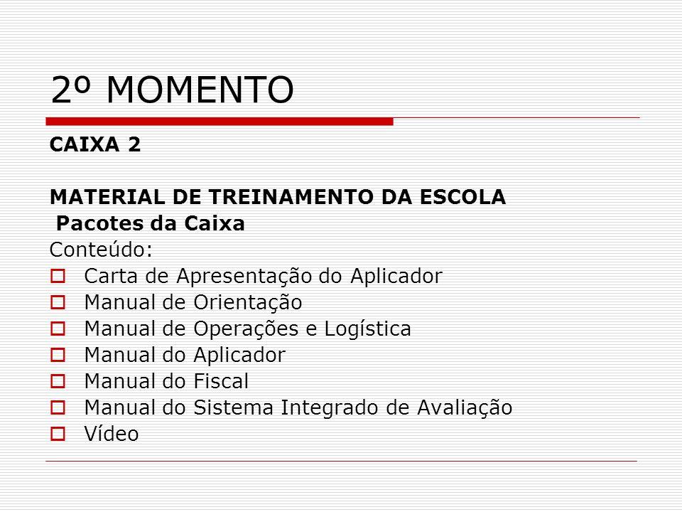 2º MOMENTO CAIXA 2 MATERIAL DE TREINAMENTO DA ESCOLA Pacotes da Caixa Conteúdo: Carta de Apresentação do Aplicador Manual de Orientação Manual de Oper