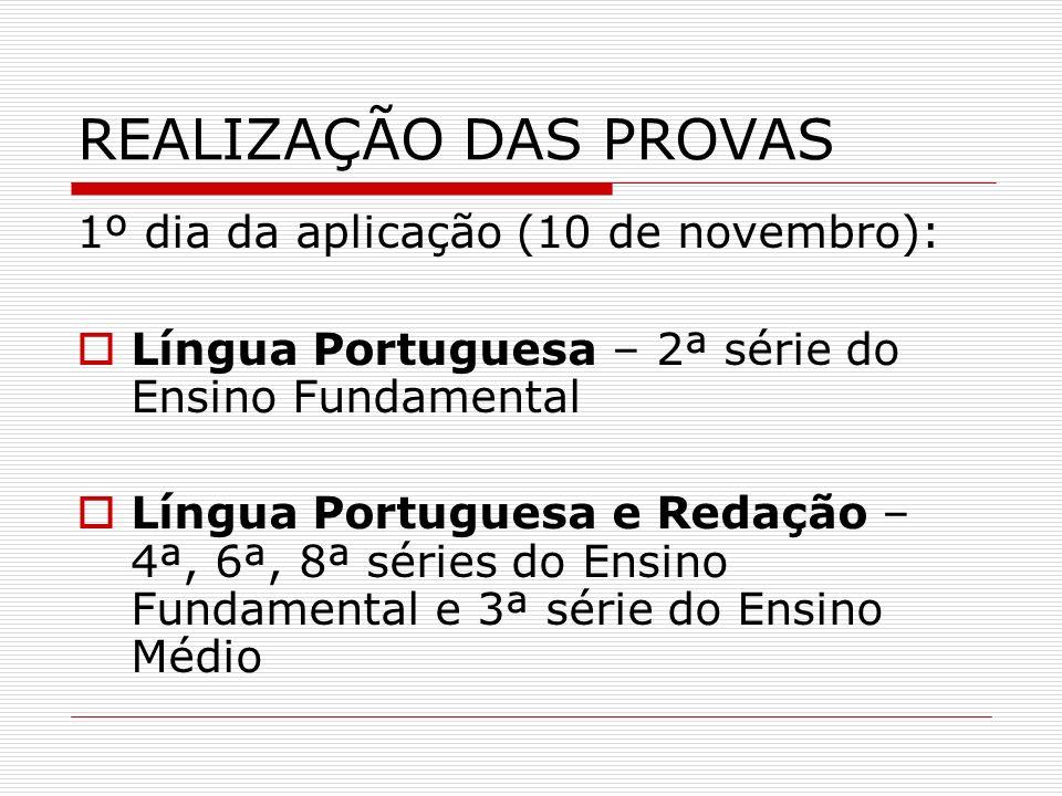 REALIZAÇÃO DAS PROVAS 1º dia da aplicação (10 de novembro): Língua Portuguesa – 2ª série do Ensino Fundamental Língua Portuguesa e Redação – 4ª, 6ª, 8