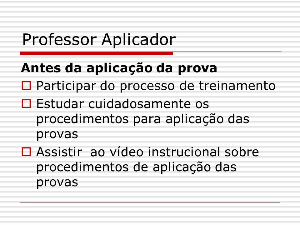 Professor Aplicador Antes da aplicação da prova Participar do processo de treinamento Estudar cuidadosamente os procedimentos para aplicação das prova