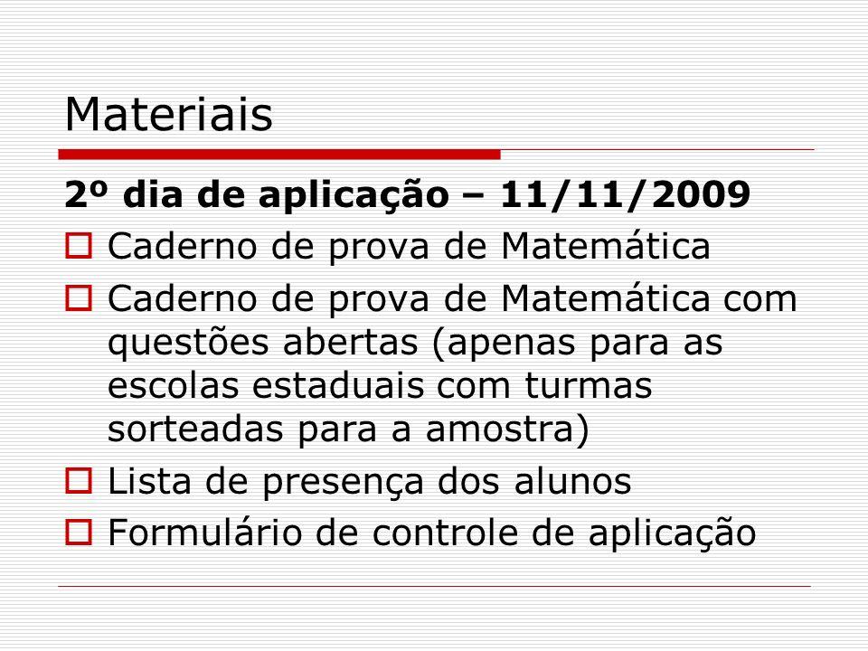 Materiais 2º dia de aplicação – 11/11/2009 Caderno de prova de Matemática Caderno de prova de Matemática com questões abertas (apenas para as escolas