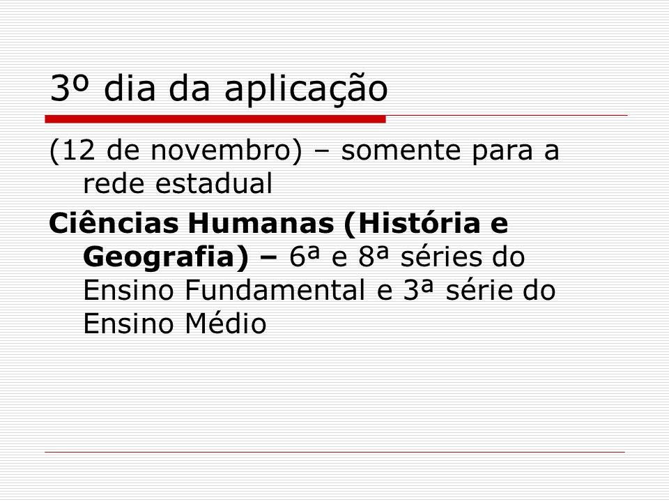 3º dia da aplicação (12 de novembro) – somente para a rede estadual Ciências Humanas (História e Geografia) – 6ª e 8ª séries do Ensino Fundamental e 3