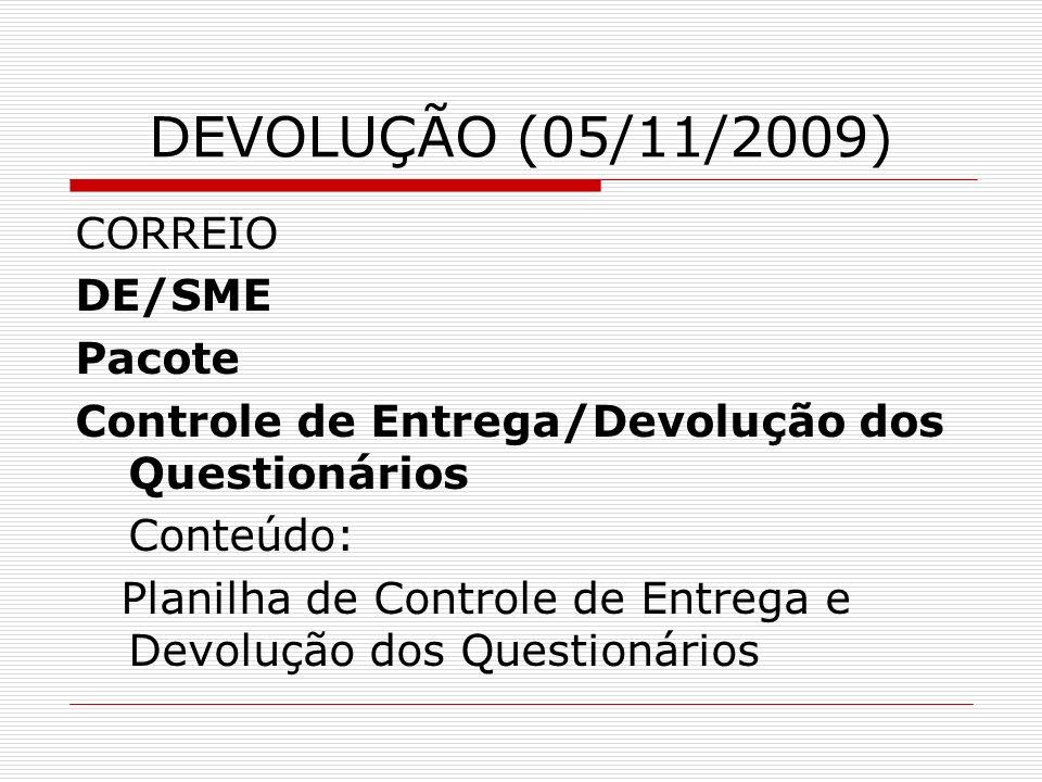 DEVOLUÇÃO (05/11/2009) CORREIO DE/SME Pacote Controle de Entrega/Devolução dos Questionários Conteúdo: Planilha de Controle de Entrega e Devolução dos