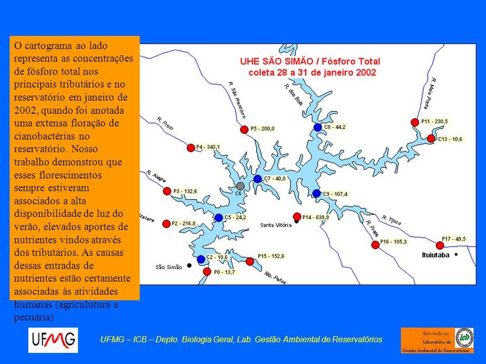 O cartograma ao lado representa as concentrações de fósforo total nos principais tributários e no reservatório em janeiro de 2002, quando foi anotada