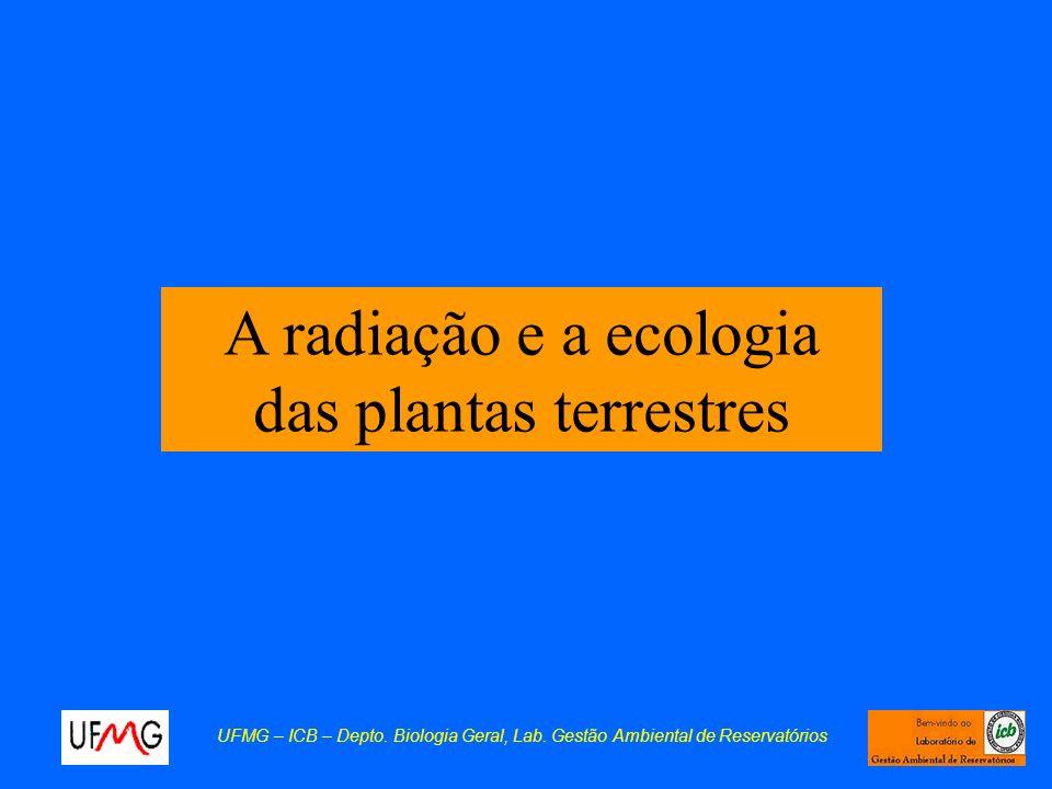A radiação e a ecologia das plantas terrestres UFMG – ICB – Depto. Biologia Geral, Lab. Gestão Ambiental de Reservatórios