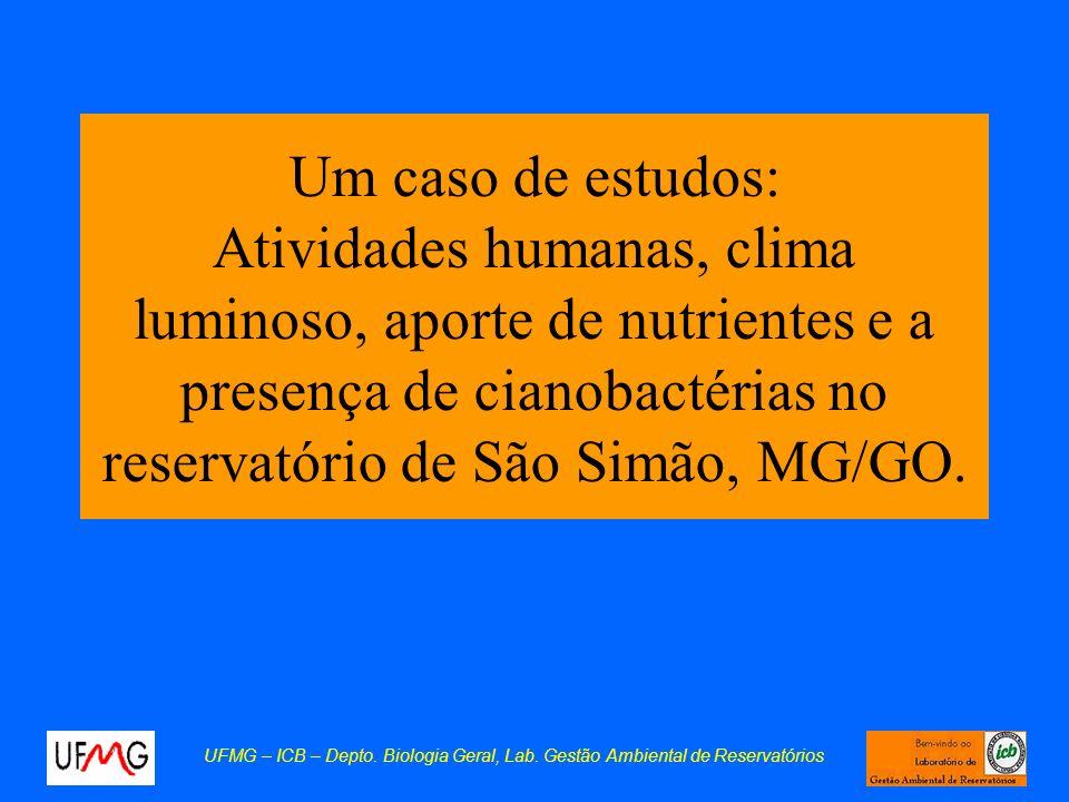 Um caso de estudos: Atividades humanas, clima luminoso, aporte de nutrientes e a presença de cianobactérias no reservatório de São Simão, MG/GO. UFMG