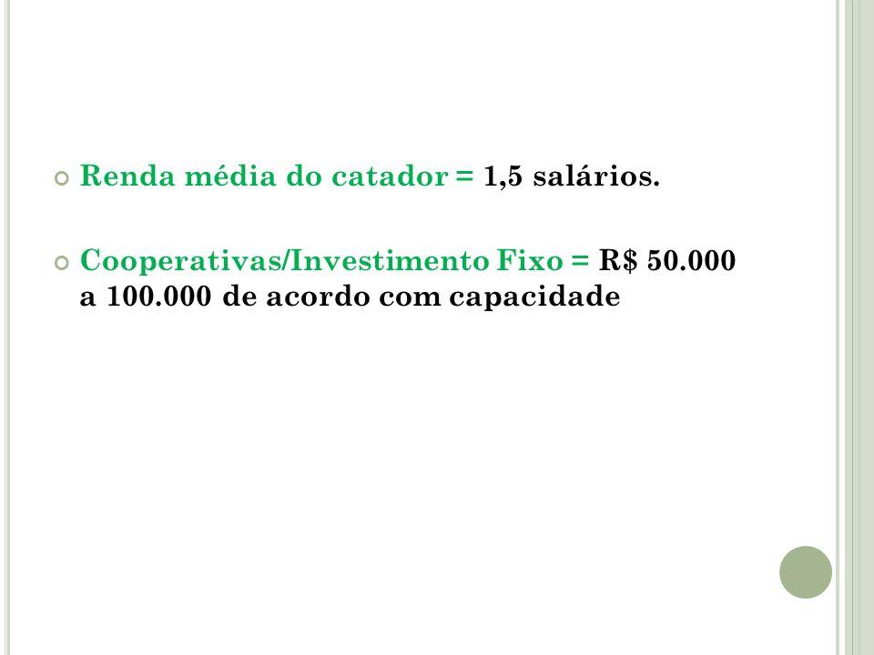 Renda média do catador = 1,5 salários. Cooperativas/Investimento Fixo = R$ 50.000 a 100.000 de acordo com capacidade