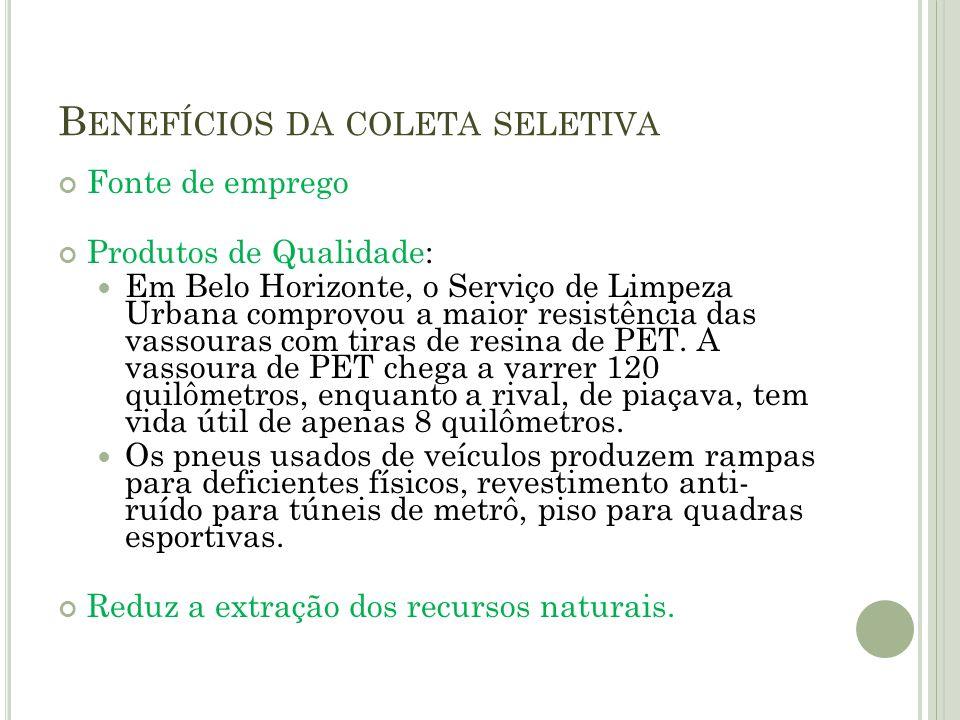 B ENEFÍCIOS DA COLETA SELETIVA Fonte de emprego Produtos de Qualidade: Em Belo Horizonte, o Serviço de Limpeza Urbana comprovou a maior resistência da