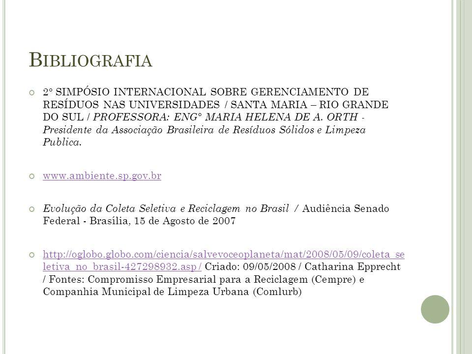 B IBLIOGRAFIA 2° SIMPÓSIO INTERNACIONAL SOBRE GERENCIAMENTO DE RESÍDUOS NAS UNIVERSIDADES / SANTA MARIA – RIO GRANDE DO SUL / PROFESSORA: ENG° MARIA H