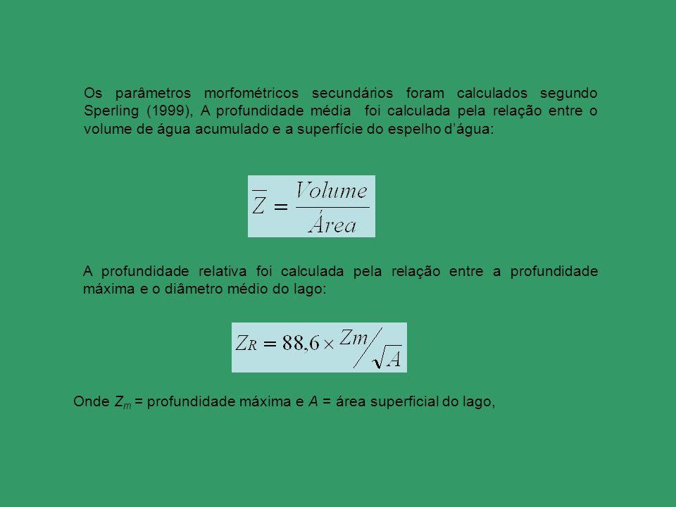 Os parâmetros morfométricos secundários foram calculados segundo Sperling (1999), A profundidade média foi calculada pela relação entre o volume de ág