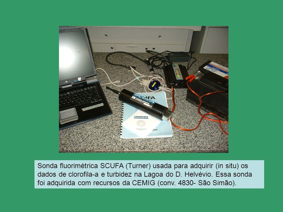 Sonda fluorimétrica SCUFA (Turner) usada para adquirir (in situ) os dados de clorofila-a e turbidez na Lagoa do D. Helvévio. Essa sonda foi adquirida