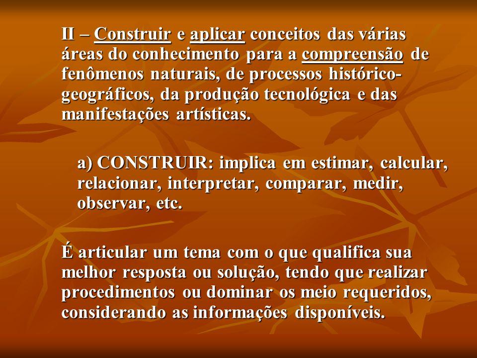 b) COMPREENDER FENÔMENOS: ser competente para formular hipóteses ou idéias sobre as relações causais que determinam esses fenômenos, atribuindo sentido às suas conseqüências.
