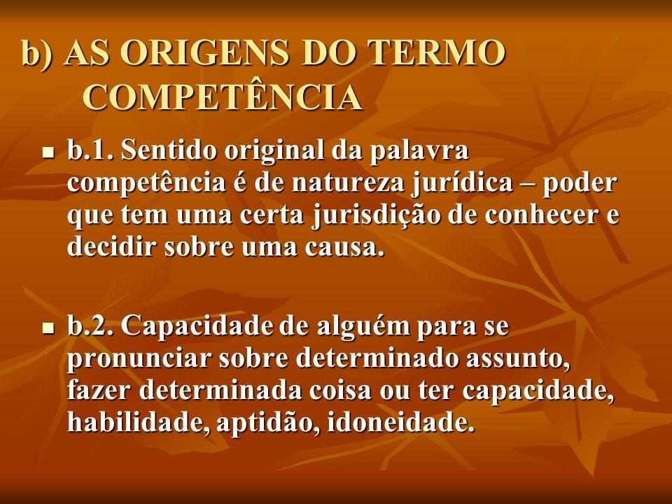 b) AS ORIGENS DO TERMO COMPETÊNCIA b.1. Sentido original da palavra competência é de natureza jurídica – poder que tem uma certa jurisdição de conhece