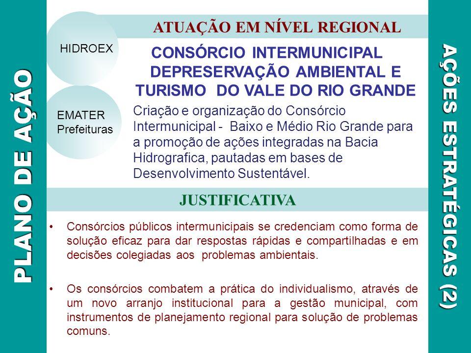 CONSÓRCIO INTERMUNICIPAL DEPRESERVAÇÃO AMBIENTAL E TURISMO DO VALE DO RIO GRANDE Criação e organização do Consórcio Intermunicipal - Baixo e Médio Rio