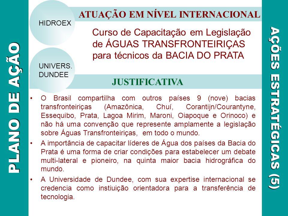 Curso de Capacitação em Legislação de ÁGUAS TRANSFRONTEIRIÇAS para técnicos da BACIA DO PRATA ATUAÇÃO EM NÍVEL INTERNACIONAL JUSTIFICATIVA AÇÕES ESTRA