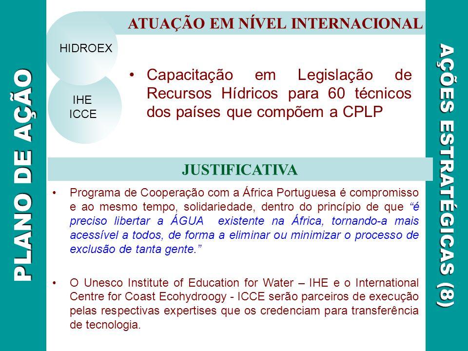 ATUAÇÃO EM NÍVEL INTERNACIONAL JUSTIFICATIVA AÇÕES ESTRATÉGICAS (8) IHE ICCE HIDROEX PLANO DE AÇÃO Programa de Cooperação com a África Portuguesa é co