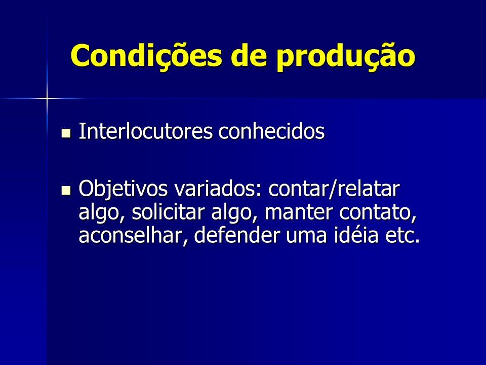 Condições de produção Interlocutores conhecidos Interlocutores conhecidos Objetivos variados: contar/relatar algo, solicitar algo, manter contato, aco