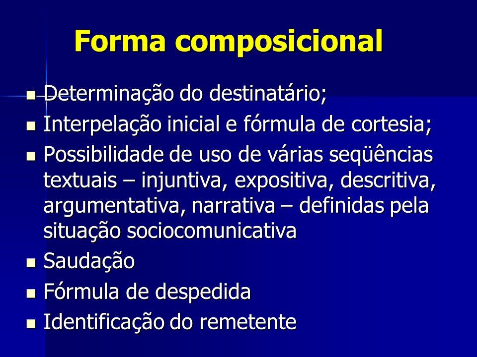 Forma composicional Determinação do destinatário; Determinação do destinatário; Interpelação inicial e fórmula de cortesia; Interpelação inicial e fór