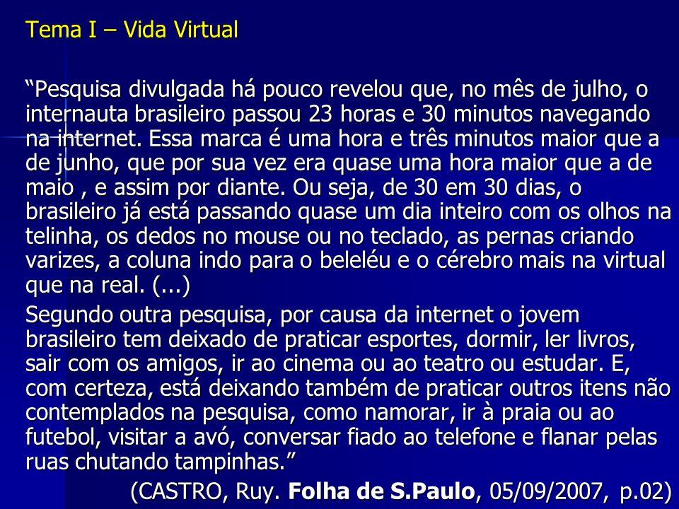 Tema I – Vida Virtual Pesquisa divulgada há pouco revelou que, no mês de julho, o internauta brasileiro passou 23 horas e 30 minutos navegando na inte