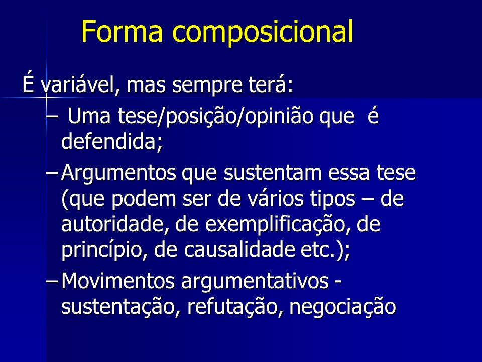 Forma composicional É variável, mas sempre terá: – Uma tese/posição/opinião que é defendida; –Argumentos que sustentam essa tese (que podem ser de vár