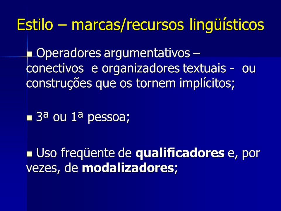 Estilo – marcas/recursos lingüísticos Operadores argumentativos – conectivos e organizadores textuais - ou construções que os tornem implícitos; Opera