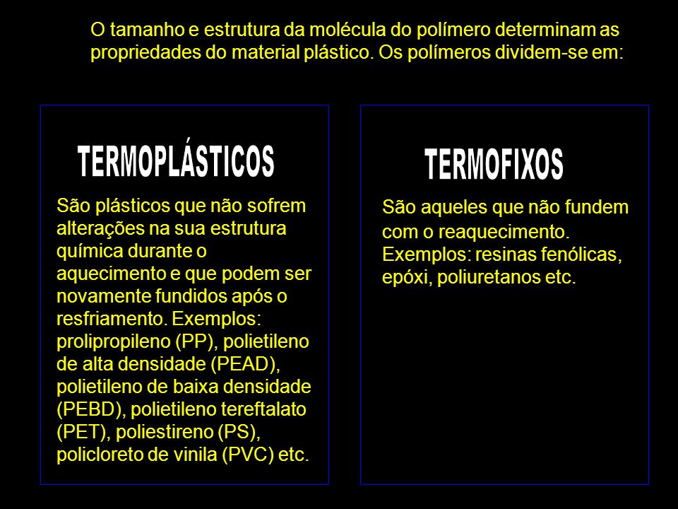 Os plásticos são reunidos em sete grupos ou categorias: 1.