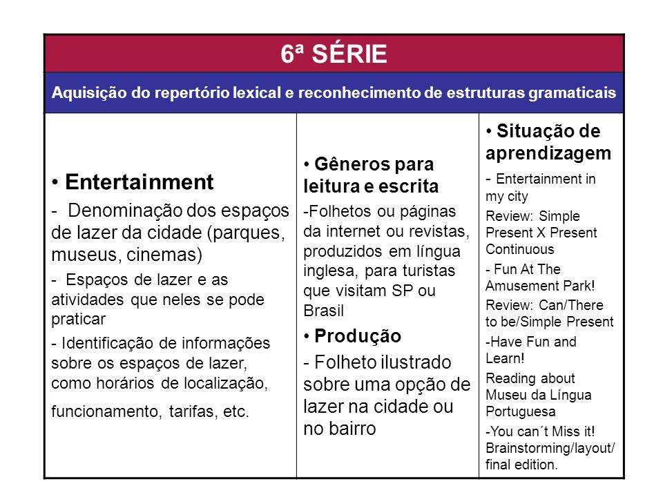 6ª SÉRIE Aquisição do repertório lexical e reconhecimento de estruturas gramaticais Entertainment - Denominação dos espaços de lazer da cidade (parque