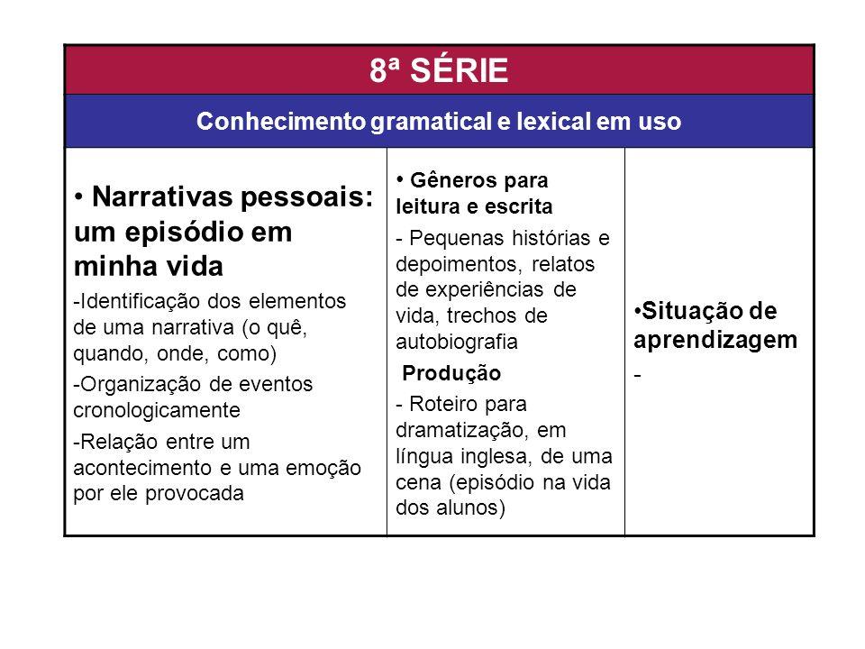 8ª SÉRIE Conhecimento gramatical e lexical em uso Narrativas pessoais: um episódio em minha vida -Identificação dos elementos de uma narrativa (o quê,