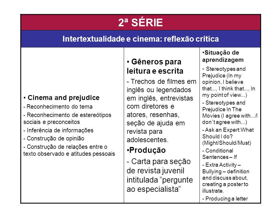 2ª SÉRIE Intertextualidade e cinema: reflexão crítica Cinema and prejudice - Reconhecimento do tema - Reconhecimento de estereótipos sociais e preconc