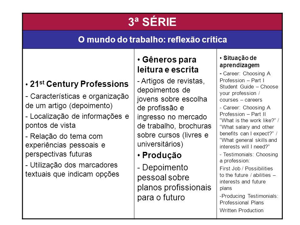 3ª SÉRIE O mundo do trabalho: reflexão crítica 21 st Century Professions - Características e organização de um artigo (depoimento) - Localização de in