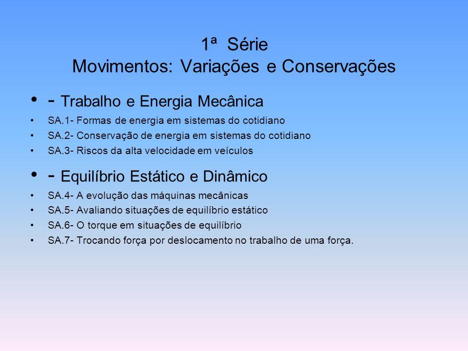 - Trabalho e Energia Mecânica SA.1- Formas de energia em sistemas do cotidiano SA.2- Conservação de energia em sistemas do cotidiano SA.3- Riscos da a