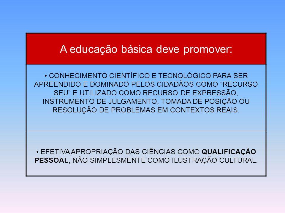 A educação básica deve promover: CONHECIMENTO CIENTÍFICO E TECNOLÓGICO PARA SER APREENDIDO E DOMINADO PELOS CIDADÃOS COMO RECURSO SEU E UTILIZADO COMO
