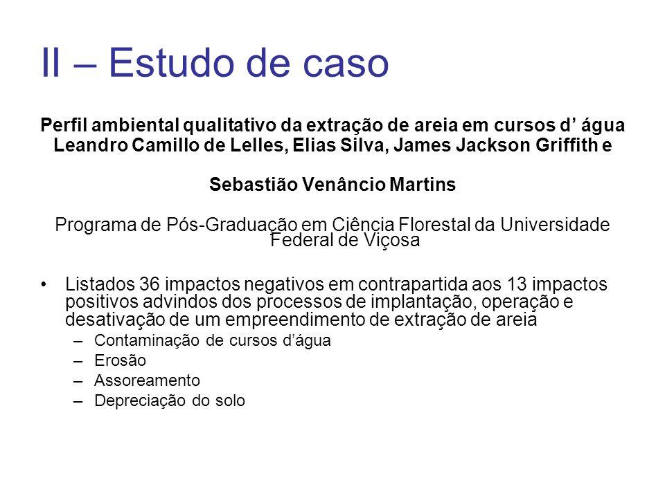 II – Estudo de caso Perfil ambiental qualitativo da extração de areia em cursos d água Leandro Camillo de Lelles, Elias Silva, James Jackson Griffith