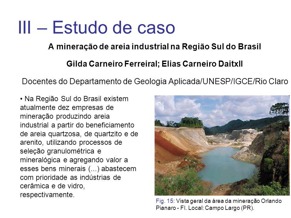 III – Estudo de caso A mineração de areia industrial na Região Sul do Brasil Gilda Carneiro FerreiraI; Elias Carneiro DaitxII Docentes do Departamento
