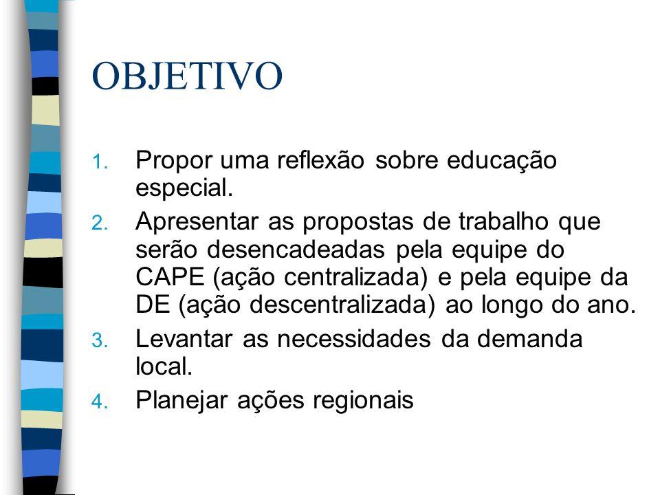 OBJETIVO 1. Propor uma reflexão sobre educação especial. 2. Apresentar as propostas de trabalho que serão desencadeadas pela equipe do CAPE (ação cent