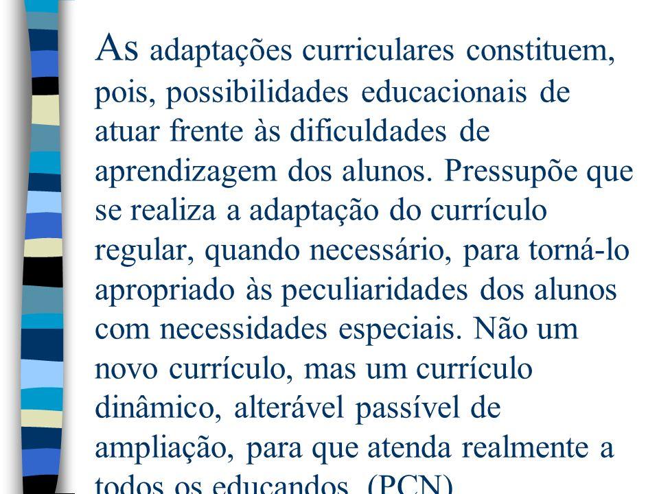 As adaptações curriculares constituem, pois, possibilidades educacionais de atuar frente às dificuldades de aprendizagem dos alunos. Pressupõe que se