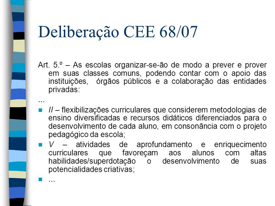 Deliberação CEE 68/07 Art. 5.º – As escolas organizar-se-ão de modo a prever e prover em suas classes comuns, podendo contar com o apoio das instituiç