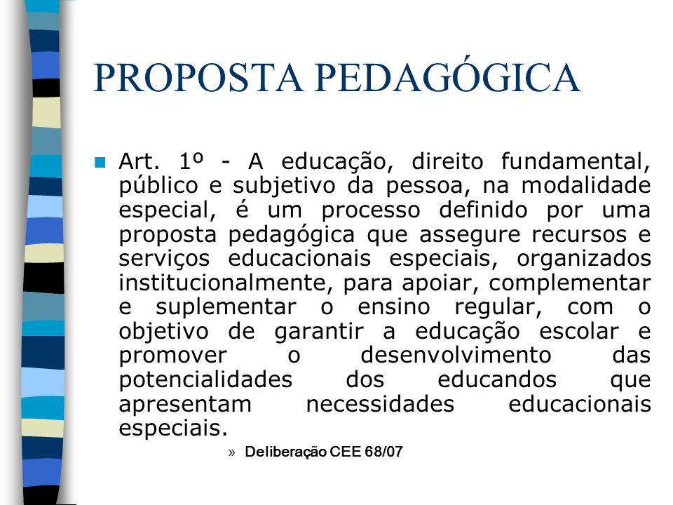 PROPOSTA PEDAGÓGICA Art. 1º - A educação, direito fundamental, público e subjetivo da pessoa, na modalidade especial, é um processo definido por uma p