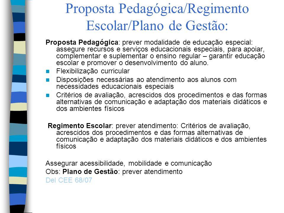 Proposta Pedagógica/Regimento Escolar/Plano de Gestão: Proposta Pedagógica: prever modalidade de educação especial: assegure recursos e serviços educa