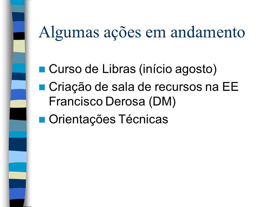 Algumas ações em andamento Curso de Libras (início agosto) Criação de sala de recursos na EE Francisco Derosa (DM) Orientações Técnicas